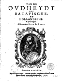 Image from object titled Van de oudheydt der Batavische, nu Hollandsche republique