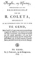 Image from object titled Regels en aflaeten, toegeeygend aen het Broederschap van de Heilige Coleta, opgeregt in de cathedrale kerk van den Heiligen Bavo te Gend