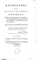 Image from object titled Recherches sur la vie et les écrits d'Homère
