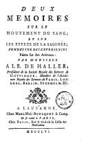 Image from object titled Deux mémoires sur le mouvement du sang, et sur les effets de la saignée, fondés sur des expériences faites sur des animaux