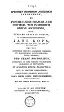 Image from object titled Specimen historico-juridicum inaugurale de fontibus juris Francici, cum universe, tum in heredum ordine succedendi