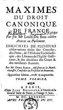 Image from object titled Maximes du Droit Canonique de France