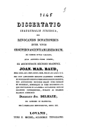 Image from object titled Dissertatio inauguralis juridica, de revocandis donationibus inter vivos ob super nascentiam liberorum