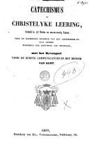 Image from object titled Catechismus, of Christelyke leering voor de katholyke jongheid van het aertsbisdom en alle andere bisdommen der provintie van Mechelen, met het byvoegsel voor de eerste communicanten in het bisdom van Gent