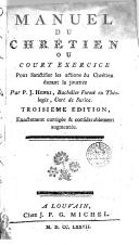 Image from object titled Manuel du chrétien ou court exercice pour sanctifier les actions du Chrétien durant la journée