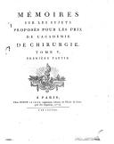 Image from object titled Mémoires sur les sujets proposés pour les prix de l'académie royale de chirurgie