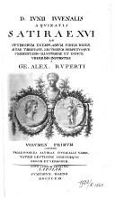 Image from object titled D. Iunii Iuvenalis Aquinatis Satirae XVI