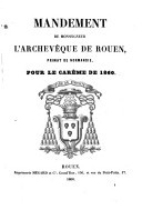 Image from object titled Mandement de Monseigneur l'archevêque de Rouen, primat de Normandie, pour le Carême de 1860