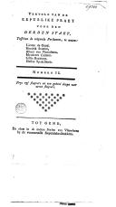 Image from object titled Vervolg van de republike praet voor den derden staet, tusschen de volgende persoonen .. - umero II