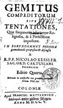 Image from object titled Gemitus compeditorum sive tentationes, quae frequentius adoriuntur religiosos, & a perfectione impediunt..