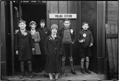 Image from object titled Children outside a Polling Station