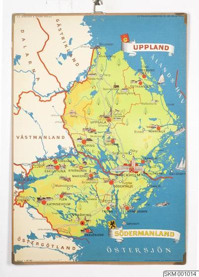 Karta World.Karta Plansch Skolplansch Svenska Landskap Sodermanland Uppland