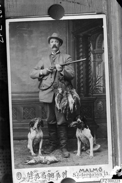visitkort, jägare, gevär, hund