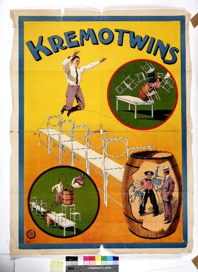 affisch, bildaffisch, cirkusaffisch, Kremotwins