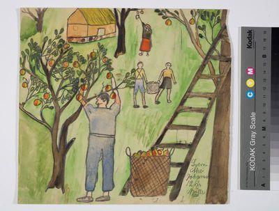 akvarell, teckning, barnteckning, skolteckning