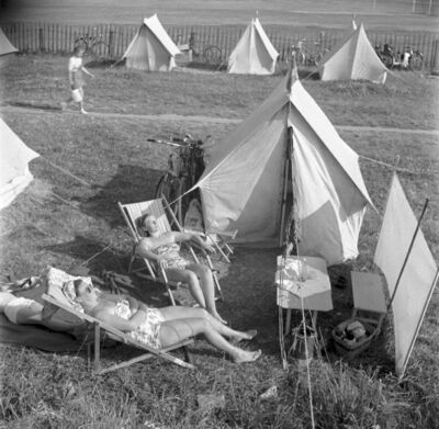 Image from object titled campingplats, tält, turist