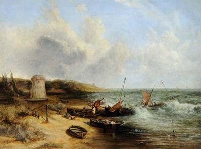 Image from object titled Coast Scene with Fishing Boats and Martello Tower