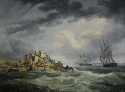 Seahorse and Cerebus, H M Frigates, off Mont Orgueil Castle