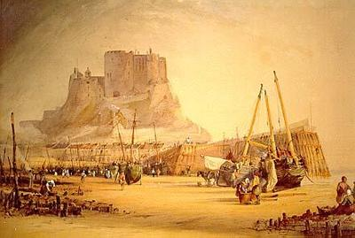 Mont Orgueil Castle with Beached Fishing Vessels