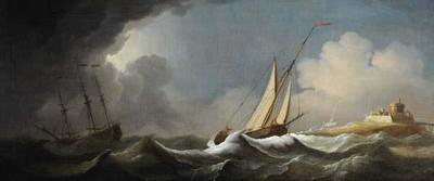 Shipping in a Stormy Sea off a Castle