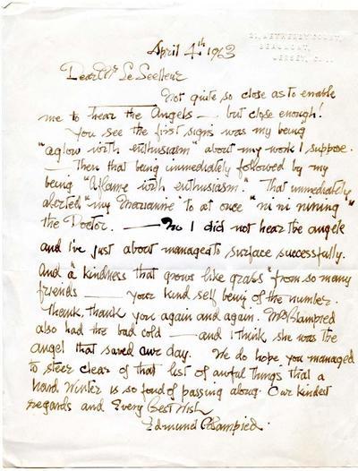 Handwritten letter to Mr Le Seeleur.