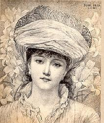 Young woman wearing a very large hat (untitled)