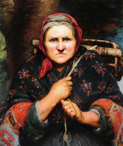 Old Peasant Lady with Wicker Basket