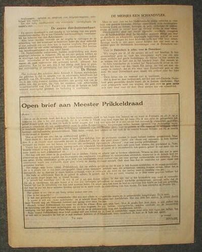 Uitgevouwen pagina van een krant of tijdschrift waarin o.a een Binnenlandse kroniek en een ??pen brief aan meester Prikkeldraad.