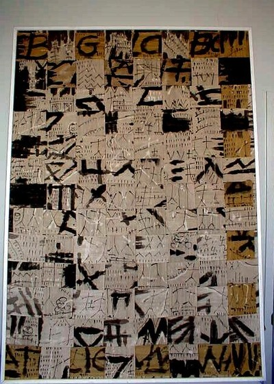 Schilderij op katoen, gespannen op een houten lijst. Zandkkleurige banen katoen van elk 8.5 cm breed, beschilderd met waterverf in zwart en een weinig wit. Abstracte motieven. De banen zijn als linnenbinding (??????n...