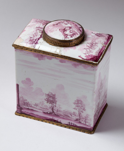 Tea caddy showing rustic scenes with anglers, herdsmen, mills and bridges.
