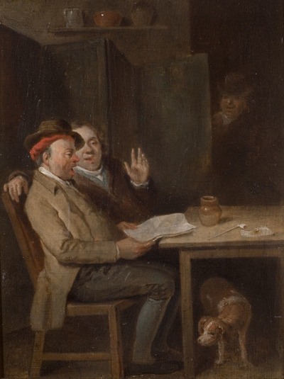 Oil painting showing two men sat at a wooden table in a tavern. They are singing together. There is a dog underneath the table.