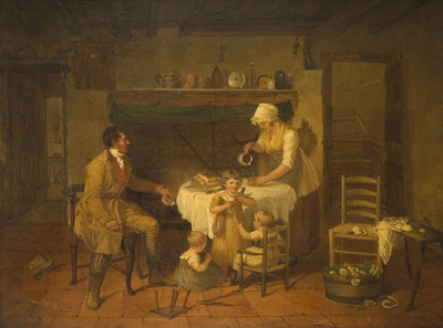 Oil painting showing a domestic scene with dinner table. A wife is preparing a drink for her husband who is sat at the table. There is bread and cheese on the table. Three children play around the table.