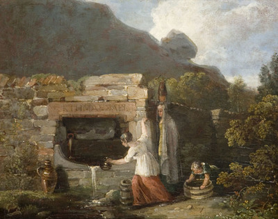 Oil painting showing three women at a stone well filling different vessels with water.