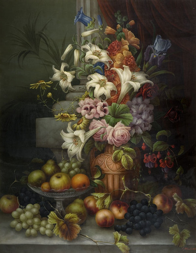 Oil Painting Showing A Vase Of Flowers And A Bowl Of Fruit On A