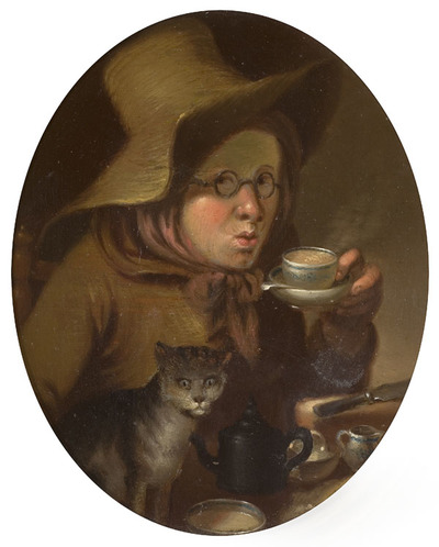 Oil painting portrait of a woman drinking tea. She is wearing a large brown hat and a brown jacket and scarf. A cat stands beside her.