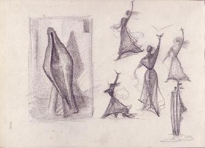 Estudio Para Mujer Castellana Y Otra Figuras Dibujo Alberto