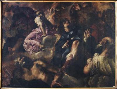 Gloria con San Roque y otros santos - Lienzo aplicado