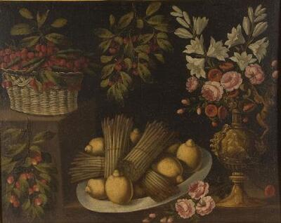 Bodegón con plato de limones y espárragos, y jarrón de flores - Cuadro
