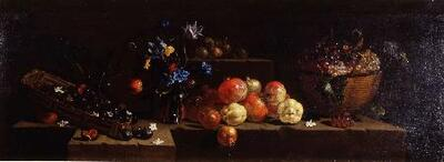 Bodegón con granadas, membrillos y flores - Cuadro