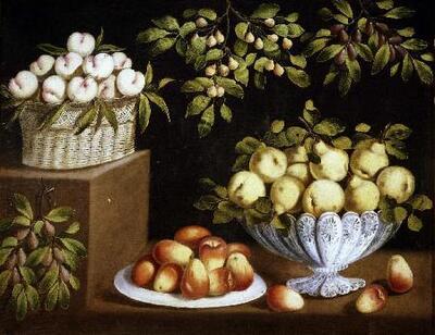 Bodegón con cuenco y canastillo de frutas - Cuadro