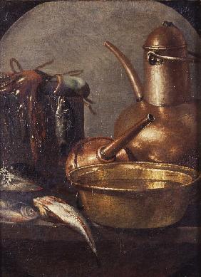 Bodegón de cocina con pescados - Cuadro