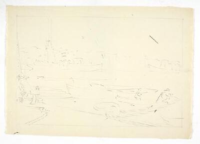 Vista del muelle de un puerto de mar - Dibujo