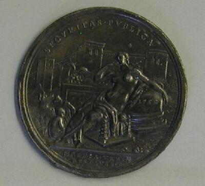 Prueva de reverso de una medalla de Benedicto XIV - Reverso