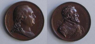 Luis XVIII y Enrique IV, reyes de Francia - Medalla