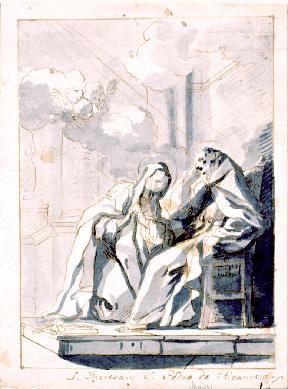 San Pedro de Alcántara confesando a Santa Teresa - Dibujo