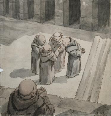 Monjes conversando - Dibujo