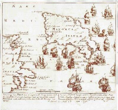 Mapa de l´illa de Menorca i de la costa de Mallorca - Mapa
