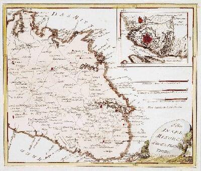 Mapa de la zona sud-est de l´illa de Menorca i del castell de Sant Felip - Mapa