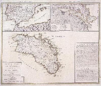 Mapa de l´illa de Menorca, port de Maó i part d´Espanya - Mapa