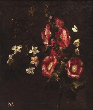 Bodegón de flores con malvarrosas - Cuadro